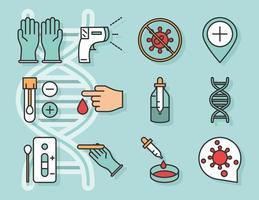 coronavirus covid 19 diagnostics recherche équipement médical échantillon de test et ligne de résultats et icônes de pack de remplissage vecteur