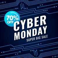 Cyber lundi bannière avec fond futuriste