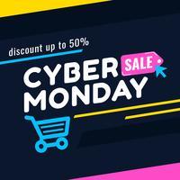 Bannière Cyber Monday Sale pour les médias sociaux vecteur