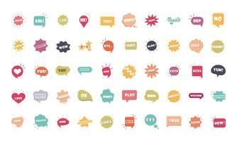 bulles d'argot différents mots et phrases dans un dessin animé multicolore bonjour lol oui omg super merci jeu d'icônes plat vecteur