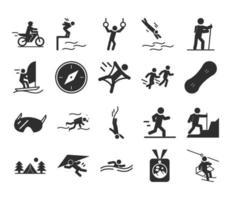 sport extrême mode de vie actif nager coureur de motocross grimpeur randonnée plongée silhouette icônes scénographie vecteur