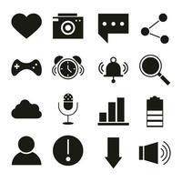 application mobile comme caméra message sms partager avatar audio web bouton menu numérique silhouette style icônes ensemble vecteur