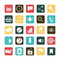 application mobile calendrier horloge sms vidéo volume cible téléphone web bouton menu numérique style plat icônes ensemble vecteur
