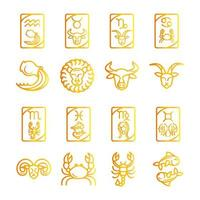 zodiaque astrologie horoscope calendrier constellation aquarium leo scorpion vierge taureau icônes collection gradient style vecteur