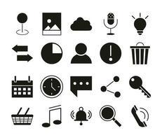 application mobile pointeur emplacement message sms avatar musique calendrier shopping web bouton menu silhouette numérique style icônes ensemble vecteur