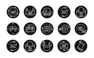 Vue à 360 degrés image de visite virtuelle panorama icônes de style linéaire scénographie vecteur