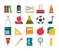 ensemble d'icônes de style plat de papeterie de classe d'approvisionnement scolaire vecteur