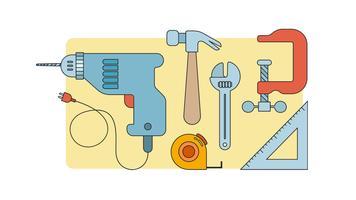 Vecteur d'outils de charpentier