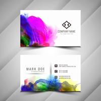 Templa de conception de carte de visite élégante aquarelle coloré abstrait vecteur