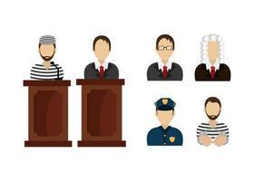 ensemble d'icônes de droit juridique et de justice vecteur