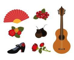 paquet de danse flamenco et set d'icônes vecteur