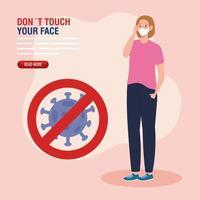 ne touchez pas votre visage, femme utilisant un masque facial et particule de coronavirus dans le signal interdit, évitez de toucher votre visage, prévention du coronavirus covid19 vecteur