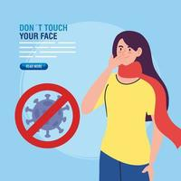 ne touchez pas votre visage, jeune femme portant un masque facial et particule de coronavirus dans le signal interdit, évitez de vous toucher le visage, prévention du coronavirus covid19 vecteur