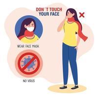 ne touchez pas votre visage, femme utilisant un foulard avec particule de covid19 en signal interdit, évitez de vous toucher le visage, prévention du coronavirus covid19 vecteur