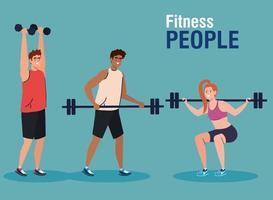 personnes en forme, groupe de jeunes pratiquant l'exercice avec des haltères et une barre de poids vecteur