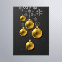 Belle affiche de flocons de neige avec boule de noël abstraite desi