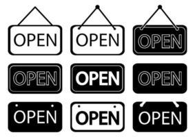 ensemble de panneaux avec texte ouvert en style contour et glyphe. enseigne ouverte pour marché, restaurant, magasin et autres. vecteur