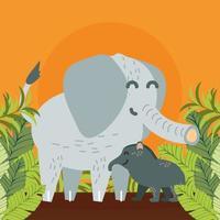 famille d'éléphants et feuilles vecteur