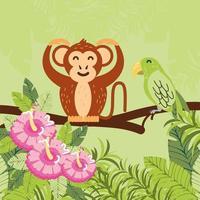 singe, fleurs et feuilles vecteur