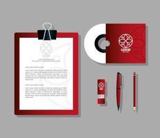 maquette de marque d'identité d'entreprise, ensemble de papeterie d'entreprise, maquette rouge avec panneau blanc vecteur