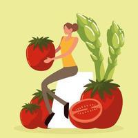 femme avec des tomates et des asperges vecteur