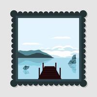 paysage, port avec rivière vecteur