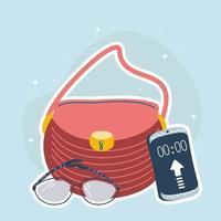 sac à main, smartphone et lunettes vecteur