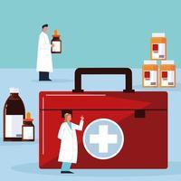personnages de pharmacien avec des médicaments vecteur