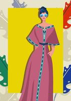 Femme à la mode caftan vecteur