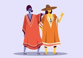 Femme en caftan vecteur