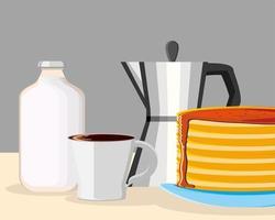 petit déjeuner crêpes et café vecteur