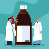 pharmaciens masculins et compte-gouttes vecteur