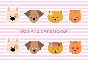Chien simple et stiker chat vecteur