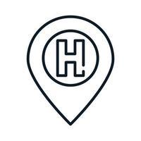 icône de ligne d'hôpital de pointeur d'emplacement médical de santé vecteur