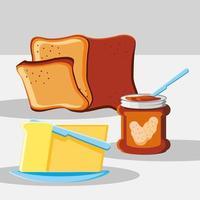 petit déjeuner pain et beurre vecteur
