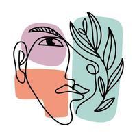 visage abstrait et fleur vecteur