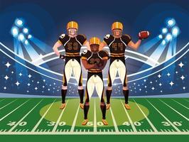 équipe de joueurs de football américain, sportifs en uniforme vecteur