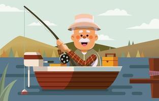 pêcheur avec canne à pêche dans le bateau vecteur