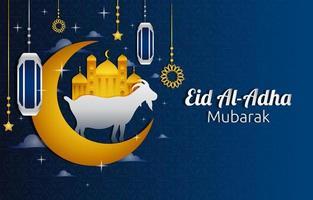 fond d'or et bleu eid al adha mubarak vecteur
