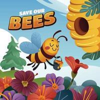 une abeille rapporte à la maison un pot de miel vecteur