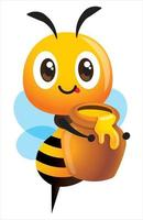 abeille mignonne de dessin animé portant un pot de miel frais vecteur