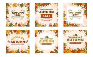 modèle de médias sociaux de la saison d'automne vecteur