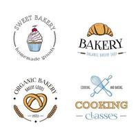 ensemble de logos de boulangerie avec fouet de rouleau à pâtisserie croissant de bretzel de petit gâteau vecteur