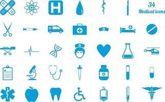 ensemble de 34 icônes médicales bleu vecteur