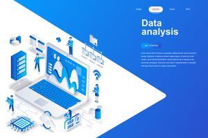 Concept isométrique de design plat moderne d'analyse de données. Analytique et concept de personnes. Modèle de page de destination. Illustration vectorielle isométrique conceptuel pour le web et le graphisme.