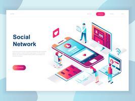 Concept isométrique moderne design plat de réseau social pour la bannière et le site Web. Modèle de page d'atterrissage isométrique. Communication virtuelle et partage multimédia. Illustration vectorielle vecteur