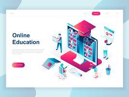 Concept isométrique moderne design plat de l'éducation en ligne pour bannière et site Web. Modèle de page d'atterrissage isométrique. Formations en ligne, spécialisation, études universitaires. Illustration vectorielle