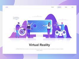 Concept de design plat moderne de lunettes de réalité augmentée virtuelle. Modèle de page de destination. Notions d'illustration vectorielle plat moderne pour la page Web, site Web et site Web mobile. Facile à éditer et à personnaliser. vecteur