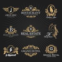 Design décoratif vintage avec logo monogramme et cadre héraldique royal vecteur