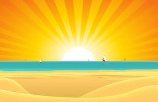 Plage d'été avec fond de carte postale de voilier vecteur